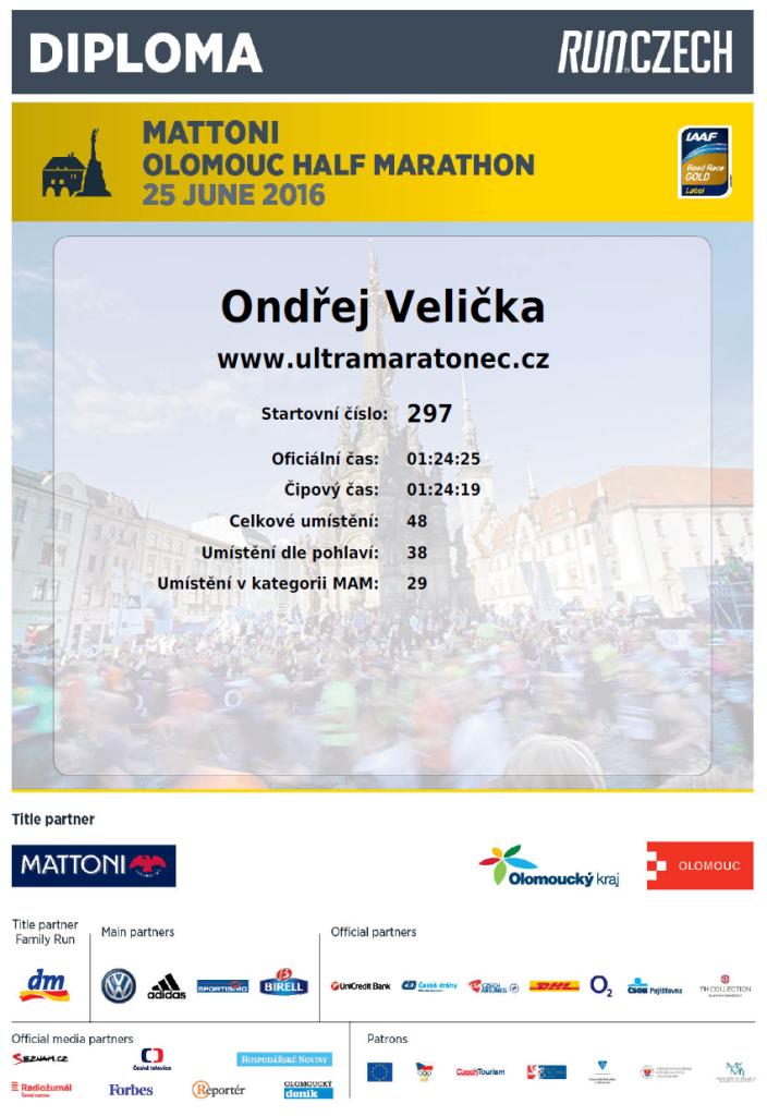 Diplom půlmaraton Olomouc 2016