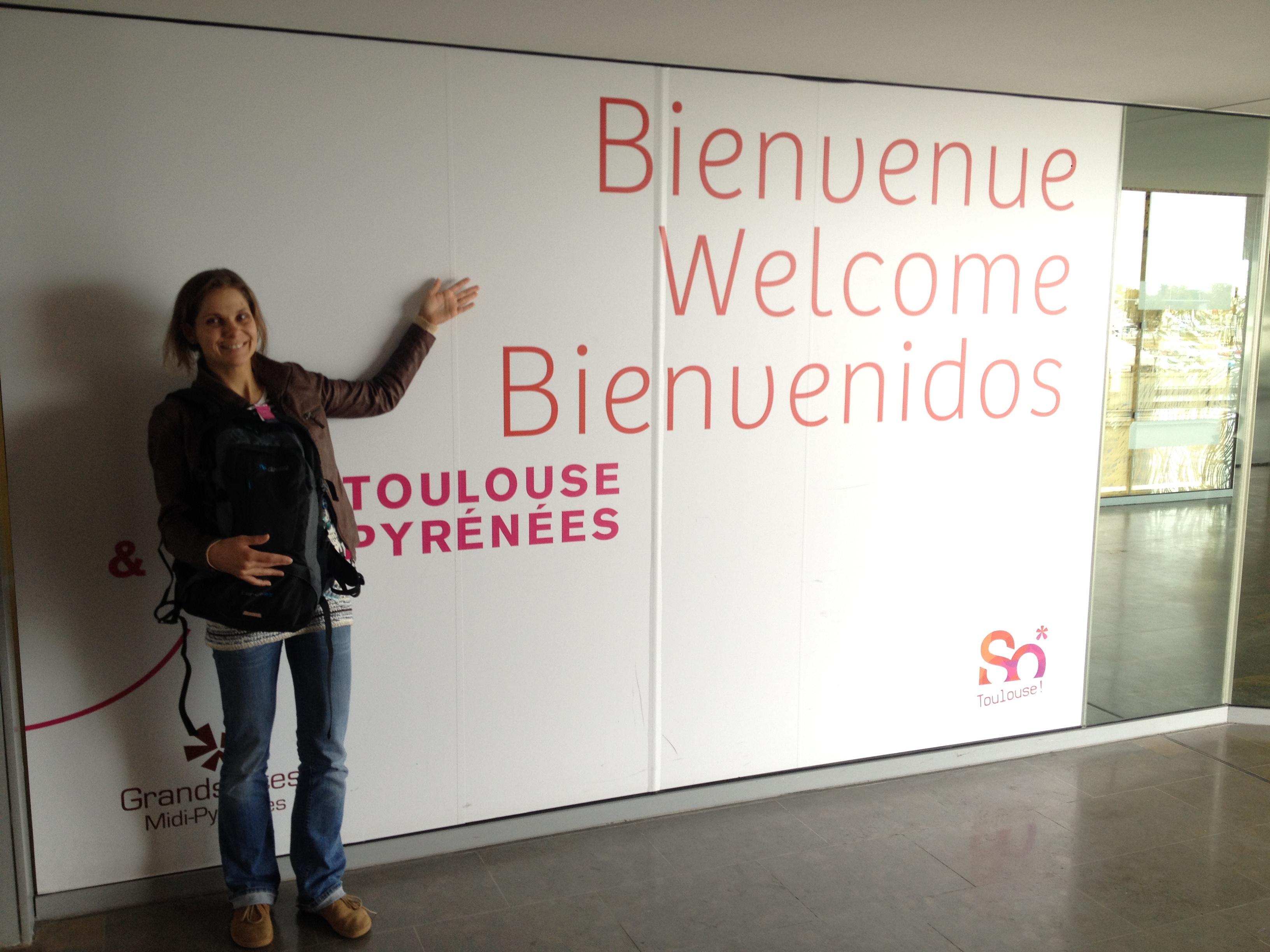 Přivítání po příletu v Toulouse.