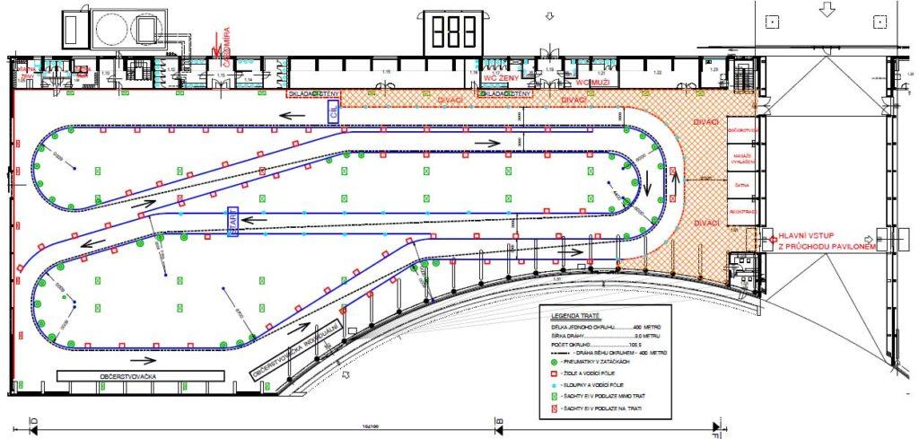 Tento 400 metrů dlouhý okruh se běžel 105,5 krát.