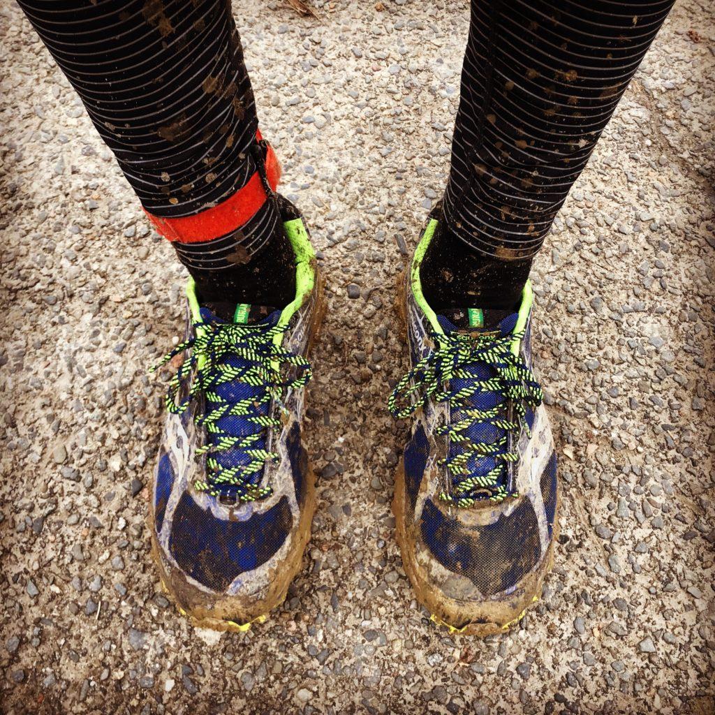 Moje boty po závodě.